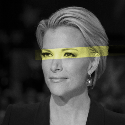 Megyn Kelly at the 2016 Republican Presidential Debate wearing a black blazer and staring straight a