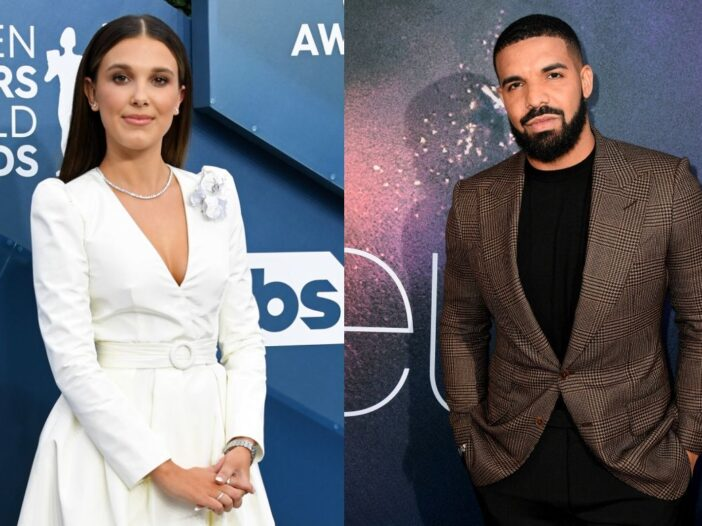 Millie Bobby Brown in a white ensemble on the red carpet. Drake wearing a brown suit jacket on the r