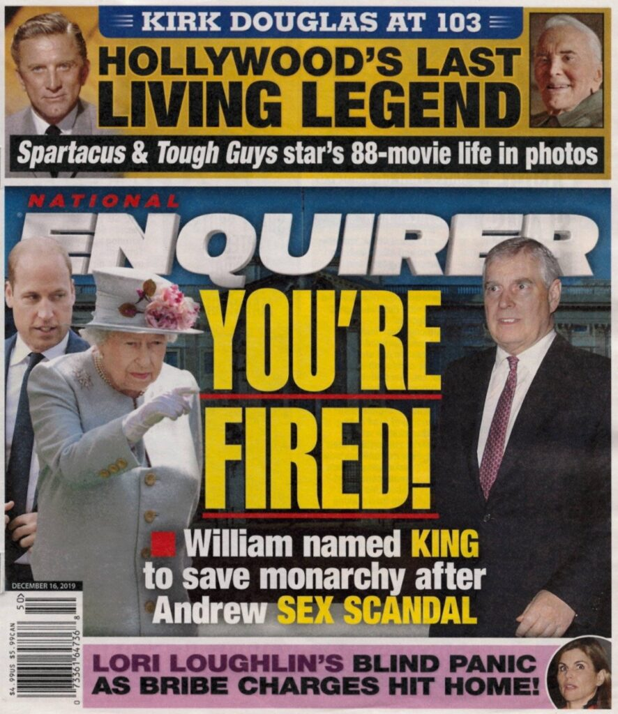 National Enquirer cover of Queen Elizabeth and Prince Andrew scandal