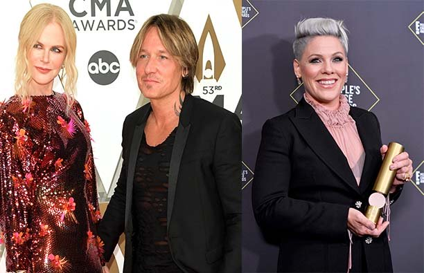 Nicole Kidman and Keith Urban on the red carpet at the CMA Awards next to a photo of Pink at the Peo