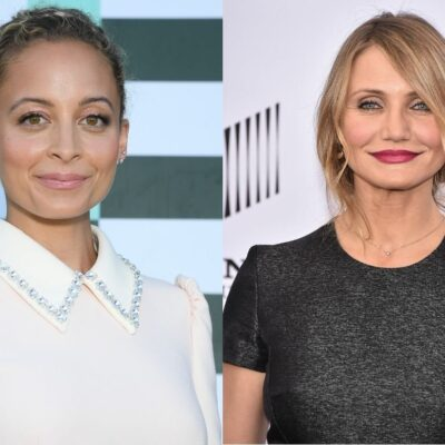 Nicole Richie wearing a cream blouse on the red carpet. Cameron Diaz in a black dress on the red carpet
