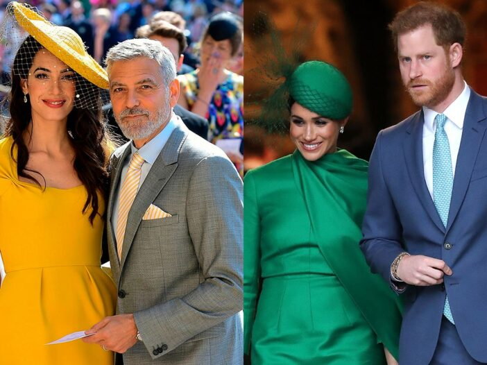 On the left a photo of Amal and George Clooney attending Prince Harry and Meghan Markle's wedding. O