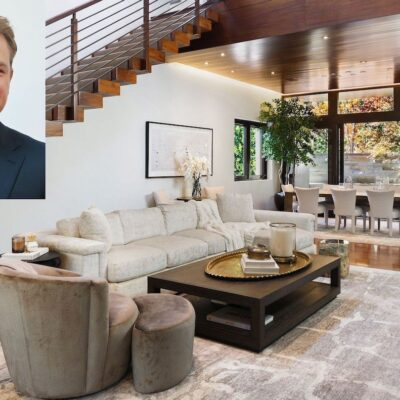 Photo of Matt Damon in a black suit overlaid on a photo of a mansion's living room