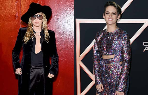 Photo of Miley Cyrus in sunglasses and a hat next to a photo of Kristen Stewart in a purple dress