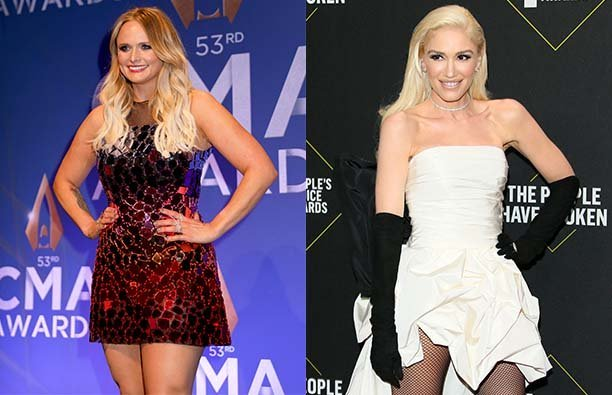 Photo of Miranda Lambert in a red dress next to a photo of Gwen Stefani is a white dress and black g