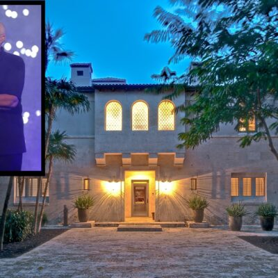 photo of Phil Collins singing overlaid with a photo of his now sold home