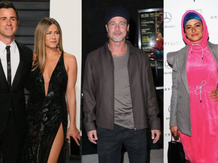 Pictures of Jennifer Aniston and Justin Theroux at an awards show, Brad Pitt at a premiere and Alia