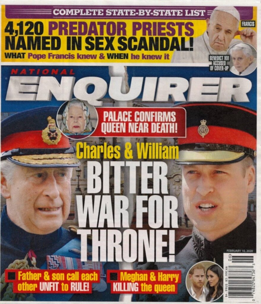 Prince Charles and Prince William war for the throne National Enquirer cover story