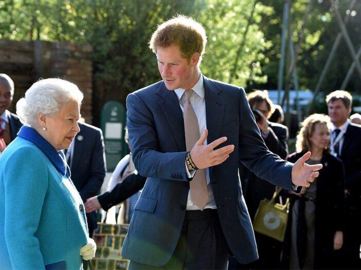 Prince Harry talking to Queen Elizabeth