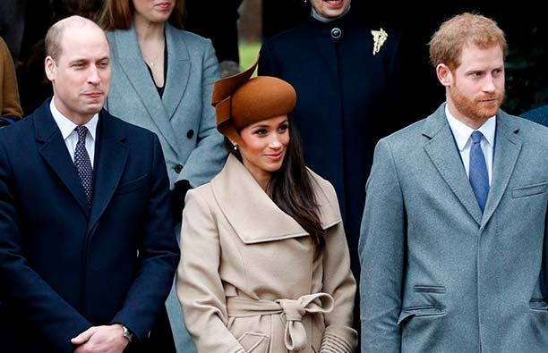 Prince William, Meghan Markle, and Prince Harry at Christmas at Sandringham in 2017