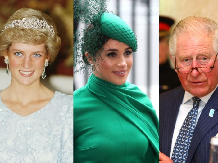 Princess Diana wearing a pale ballgown and tiara in Munich. Meghan Markle in a green gown and hat du