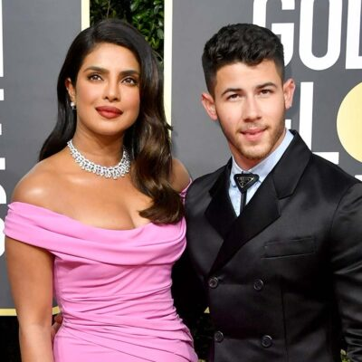 Priyanka Chopra and Nick Jonas on the red carpet at the Golden Globes