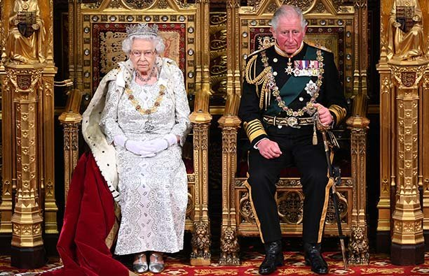 Queen Elizabeth II and Prince Charles opening Parliament in October 2019