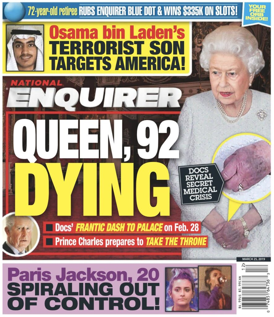 Queen Elizabeth on the cover of the March 25th 2020 National Enquirer