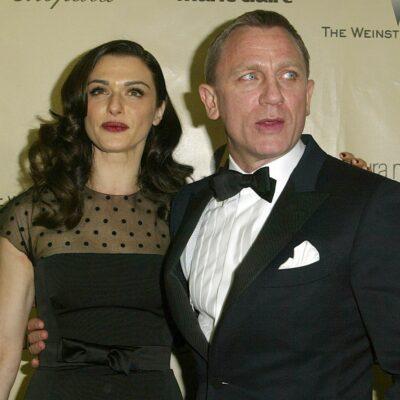 Rachel Weisz, in a black dress, and Daniel Craig, in a black tux, attend a Golden Globes after party