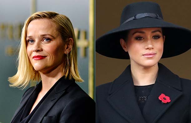 Reese Witherspoon in a black blazer next to a photo of Meghan Markle in a dark suit with a red poppy