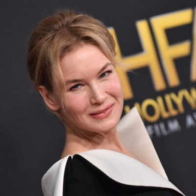 Renee Zellweger arrives at the Hollywood Film Awards 2019, wearing a black and white dress