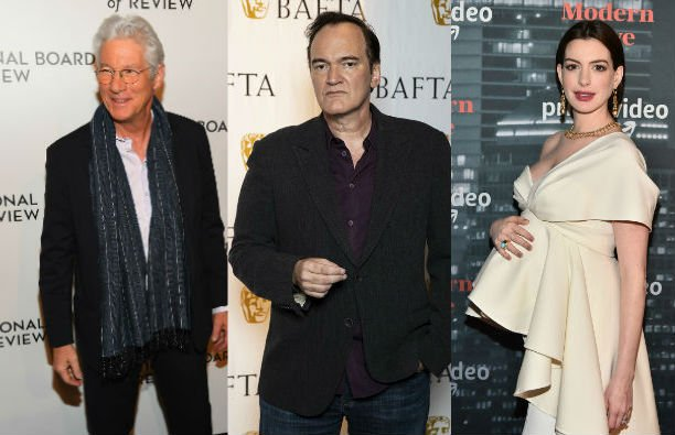 Richard Gere in a dark suit with a white shirt on the red carpet, second image is of Quentin Taranti