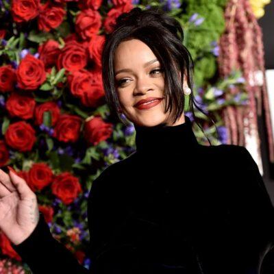 Rihanna wearing a black turtleneck on the red carpet