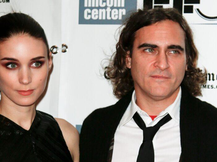Rooney Mara on the left, Joaquin Phoenix on the right.
