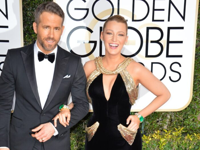 Ryan Reynolds and Blake Lively, arm in arm at the Golden Globe awards.