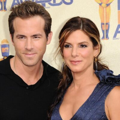 Ryan Reynolds on the left, Sandra Bullock on the right, looking younger, when they were dating.