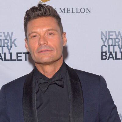 Ryan Seacrest wearing a dark blue suit at the New York City Ballet Fall Fashion Gala