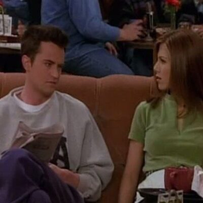 Screenshot from Friends with Jennifer Aniston looking annoyed at Matthew Perry.