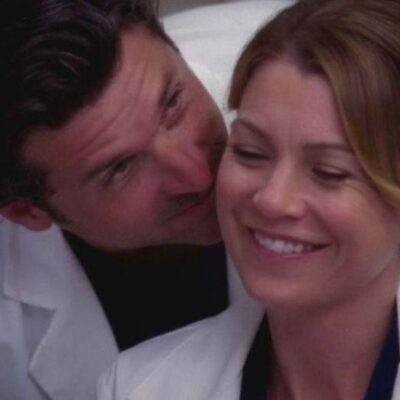 """Screenshot from """"Grey's Anatomy"""" with Patrick Dempsey kissing Ellen Pompeo on the cheek."""