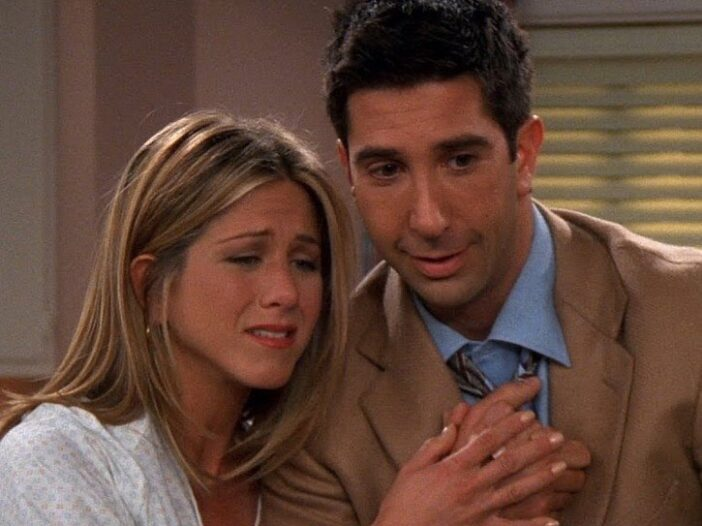 Screenshot of Jennifer Aniston as Rachel and David Schwimmer as Ross on 'Friends'