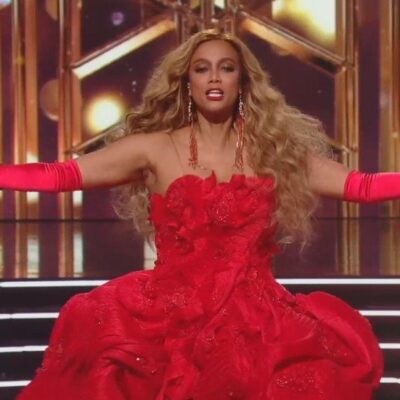 Screenshot of Tyra Banks in a red dress on Dancing With The Stars