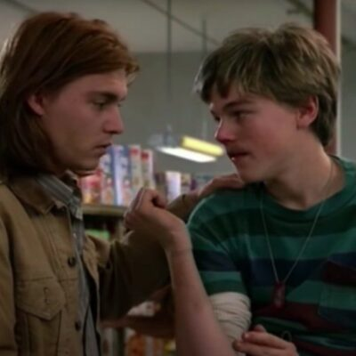 screenshot of What's Eating Gilbert Grape with Johnny Depp talking to Leonardo DiCaprio