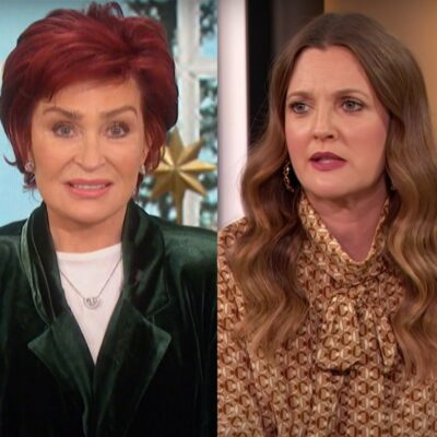 Screenshots of Sharon Osbourne in a green jacket and Drew Barrymore in a yellow dress