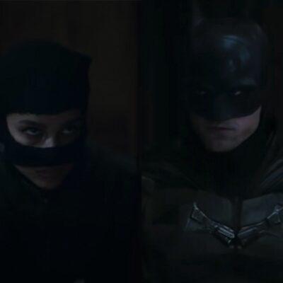 screenshots of Zoe Kravitz as Catwoman looking at Robert Pattinson as Batman
