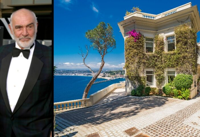 Sean Connery side by side with exterior shot of former Villa