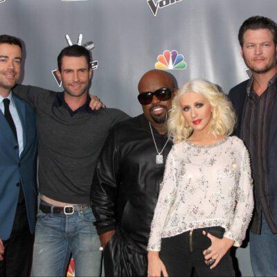 Season 5 The Voice stars Adam Levine, Ceelo Green, Christina Aguilera, Blake Shelton, Carson Daly