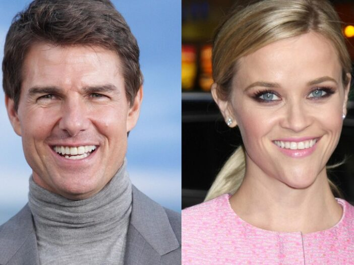 Separate photos of Tom Cruise (left) in a gray suit and Reese Witherspoon (right) in a pink dress