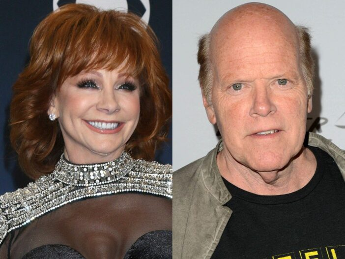 side by side close up photos of Reba McEntire in a black dress and Rex Linn in a black shirt