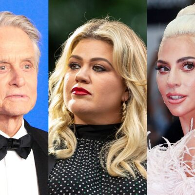side by side close up photos of Michael Douglas, Kelly Clarkson, and Lady Gaga
