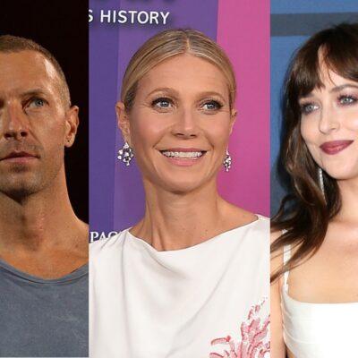 Side by side close up photos of Chris Martin, Gwyneth Paltrow, and Dakota Johnson.