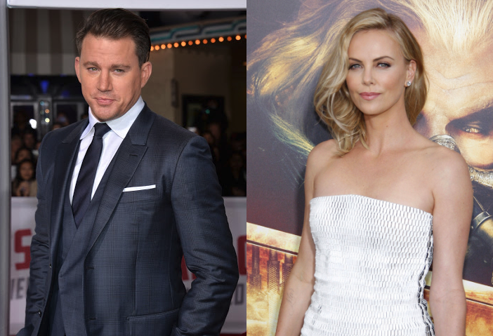 Side by side images of Channing Tatum in a satin finished charcoal suit at the world premiere of _Hail Caesar!_ and Charlize Theron in a white strapless dress at the _Mad Max:Fury Road_ Hollywood prem