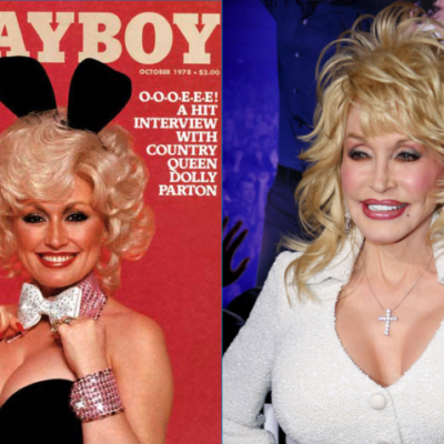 Side by side images of Dolly Parton on the cover of Playboy in 1978 and Dolly Parton at the _Joyful Noise_ premiere.