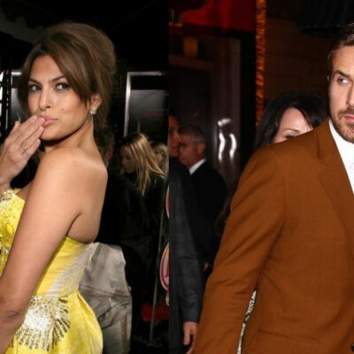 Side by side images of Eva Mendes in a yellow dress and Ryan Gosling wearing a brown suit