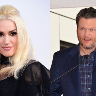 Side by side images of Gwen Stefani looking fierce and Blake Shelton looking concerned.