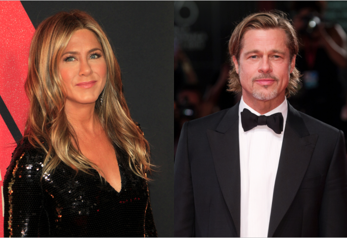 Side by side images of Jennifer Aniston and Brad Pitt at red carpet events.