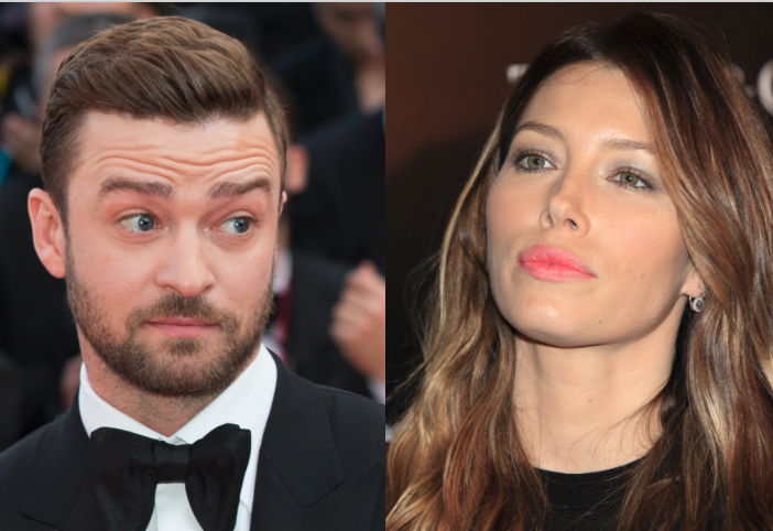 Side by side images of Justin Timberlake raising his eyebrows at the Cannes Film Festival and Jessica Biel with a serious expression at a film premiere.