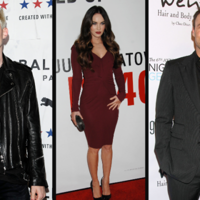 Side by side images of Machine Gun Kelly, Megan Fox, and Brian Austin Green