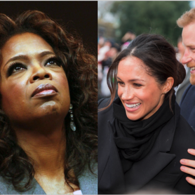 Side by side images of Oprah at a Presidential Primary and Prince Harry holding Meghan Markle's shoulders while greeting the public.