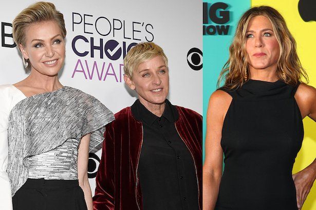 side by side images of Portia de Rossi in a white top and Ellen DeGeneres in a maroon jacket next to