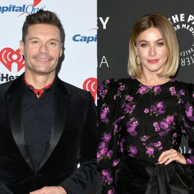 side by side images of Ryan Seacrest in a black suit and white background and Julianne Hough in a bl